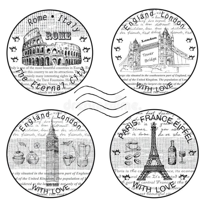 邮票罗马巴黎 向量例证