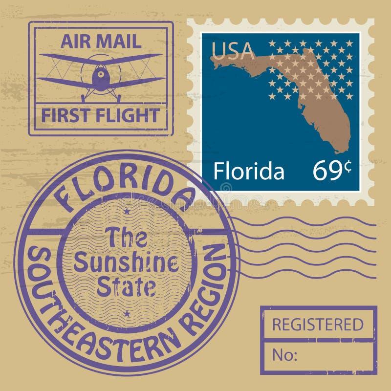 邮票设置与佛罗里达的名字 库存例证