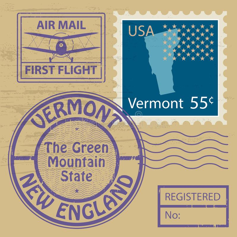 邮票设置与佛蒙特的名字 库存例证