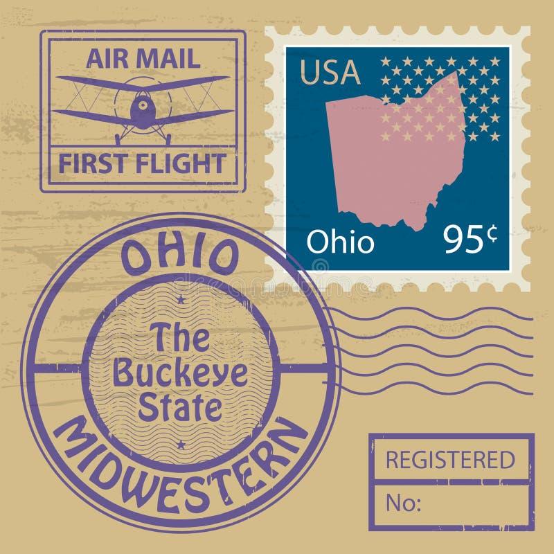 邮票设置与俄亥俄的名字 向量例证