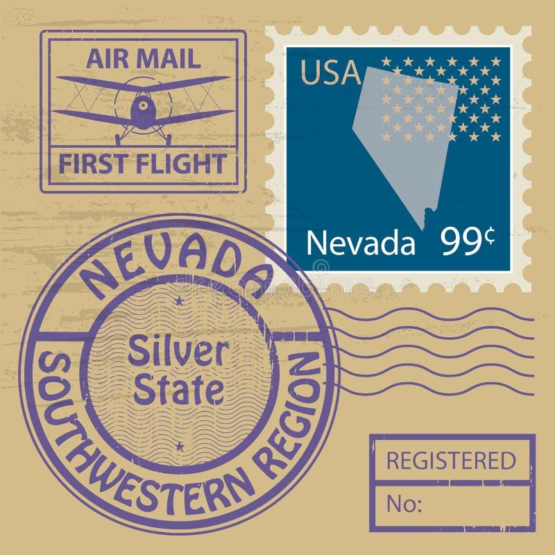 邮票设置与内华达的名字 向量例证