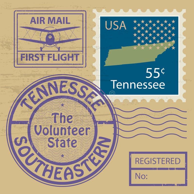 邮票设置与田纳西的名字 皇族释放例证