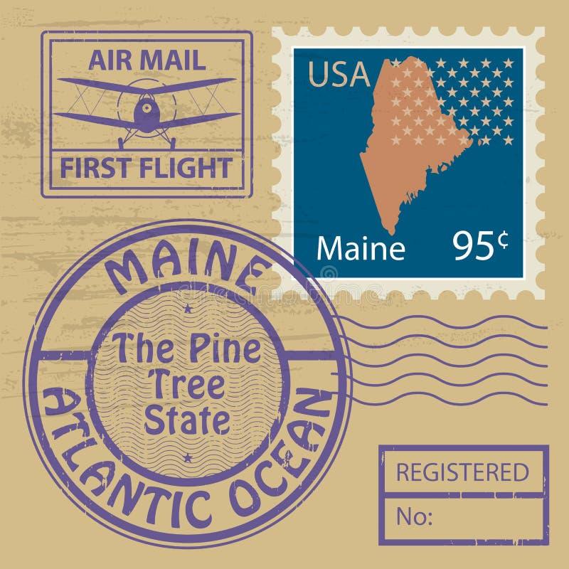 邮票设置与缅因的名字 库存例证