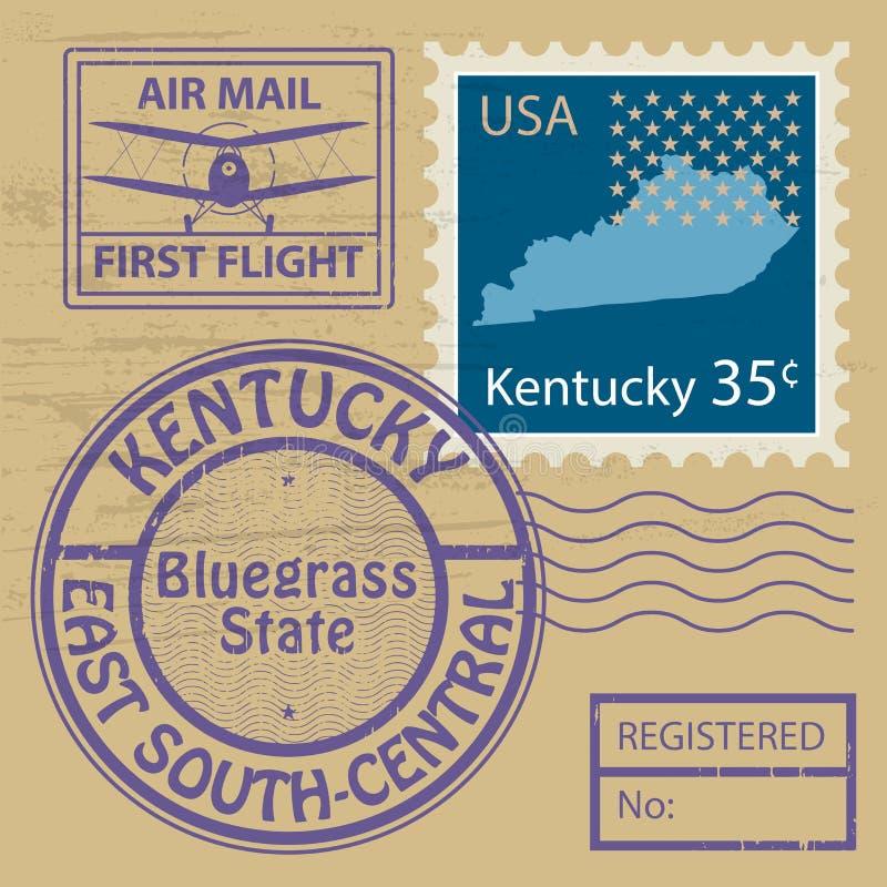 邮票设置与肯塔基的名字 向量例证