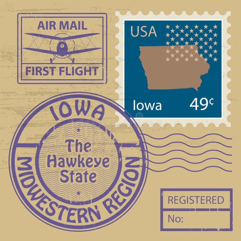 邮票设置与衣阿华的名字 向量例证