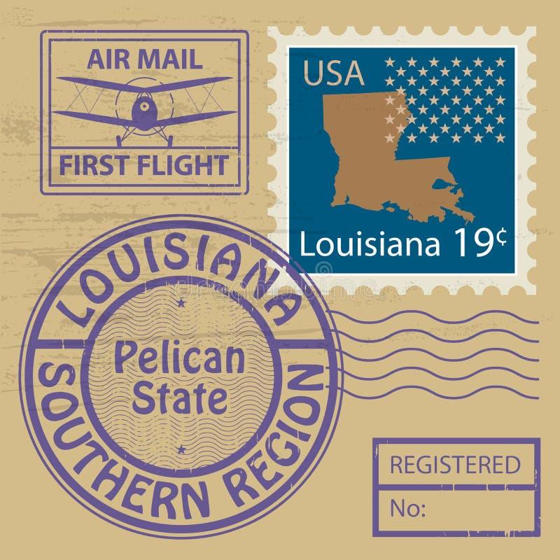邮票设置与路易斯安那的名字 库存例证
