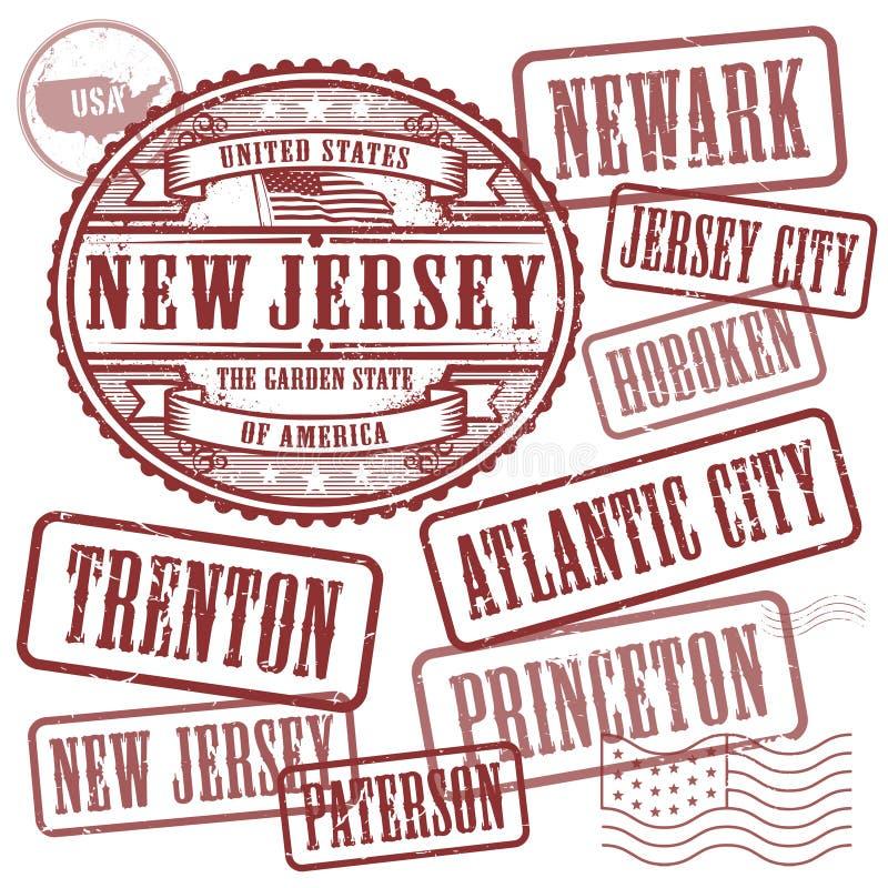 邮票设置了与城市的名字新泽西州的 皇族释放例证