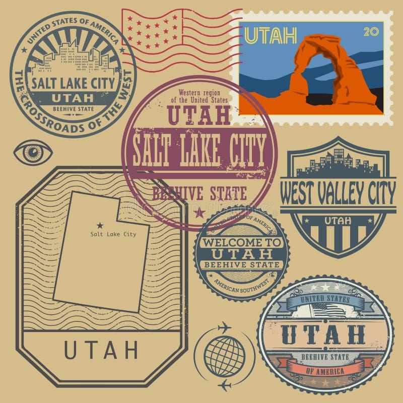 邮票设置了与犹他的名字和地图 皇族释放例证