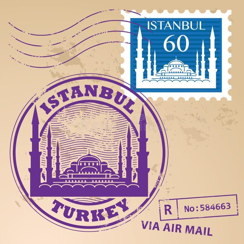 邮票集合伊斯坦布尔 向量例证