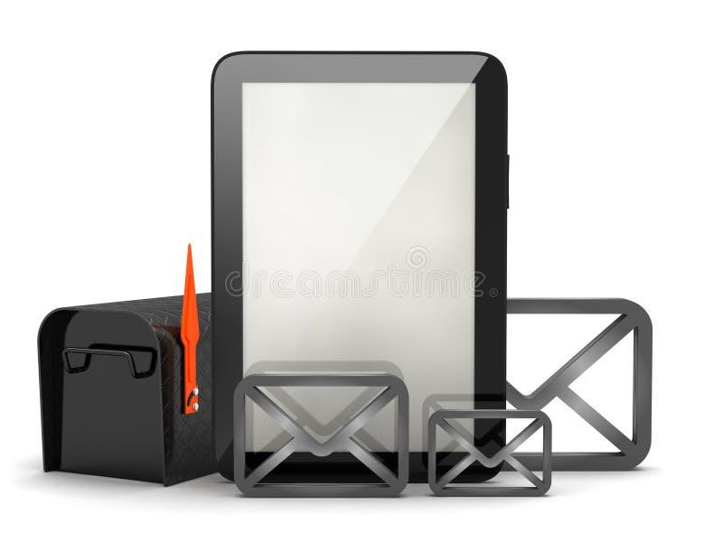 邮箱、信封和片剂计算机 皇族释放例证