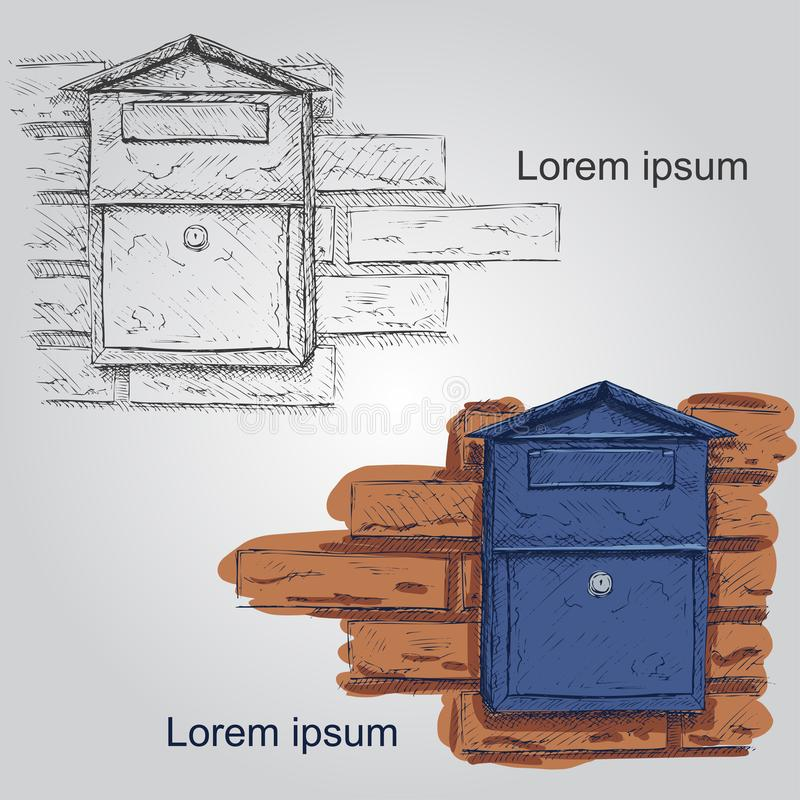 邮箱在背景隔绝的传染媒介剪影 手拉的邮箱 向量例证
