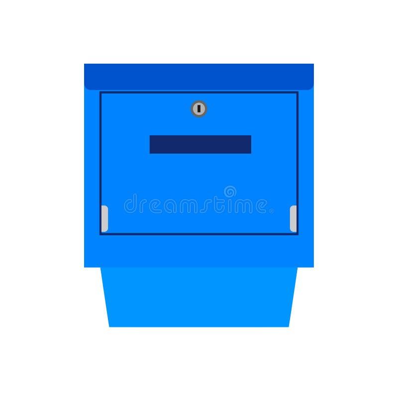邮箱蓝色标志通信运输的岗位传染媒介象 交付货物接受邮政元素信箱 皇族释放例证