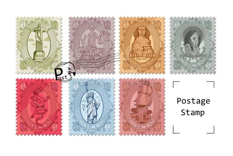 邮费被设置的旅行邮票 在白色背景的岗位象征 被盖印的标记 正式邮戳 向量例证