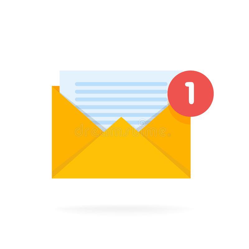 邮件与文件的信封象 电子邮件送概念传染媒介例证 向量例证