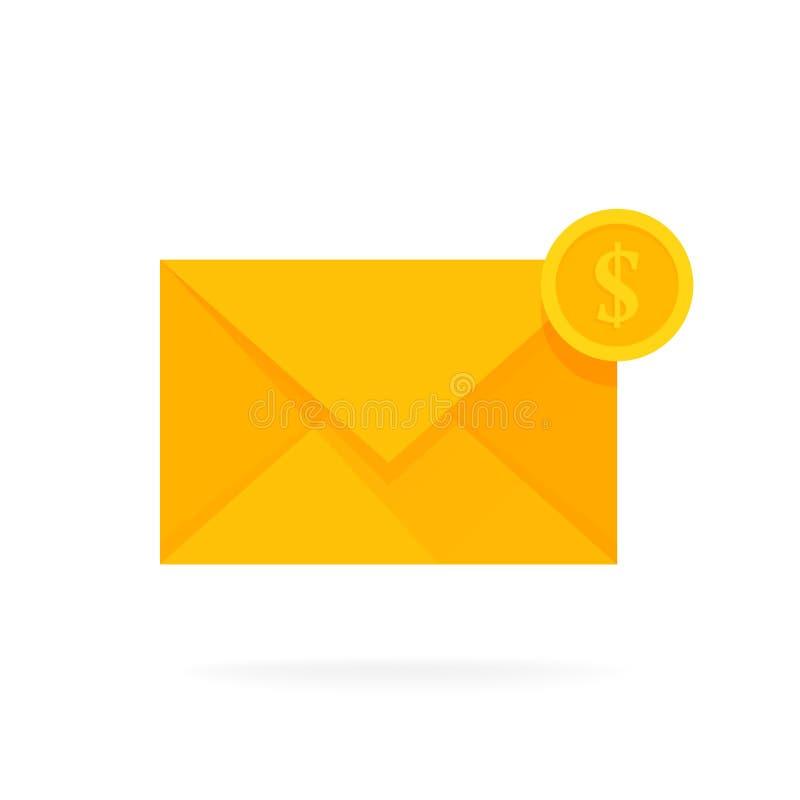 邮件与美元硬币的信封象 电子邮件送金钱概念传染媒介例证 库存例证