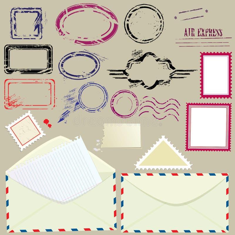 邮件设计元素的汇集 库存例证