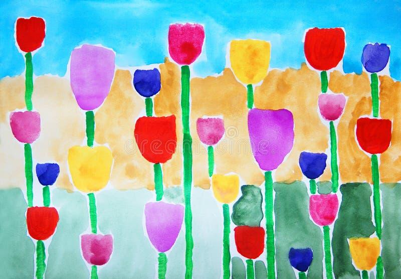 郁金香。抽象五颜六色的水彩绘画。 皇族释放例证