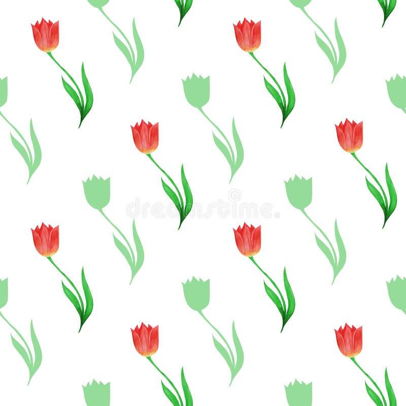 郁金香和在白色背景隔绝的花剪影的简单的无缝的样式 向量例证