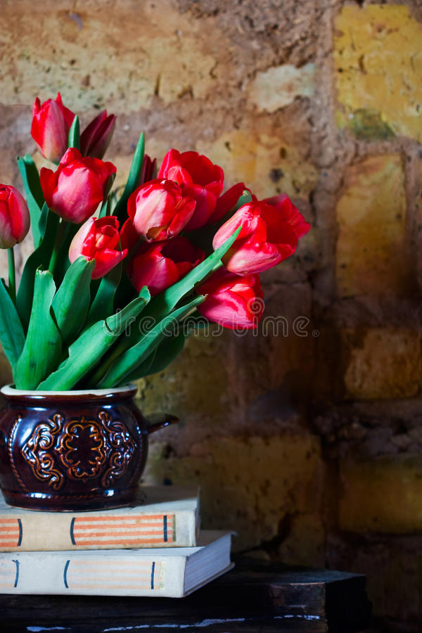 郁金香和旧书花束  图库摄影