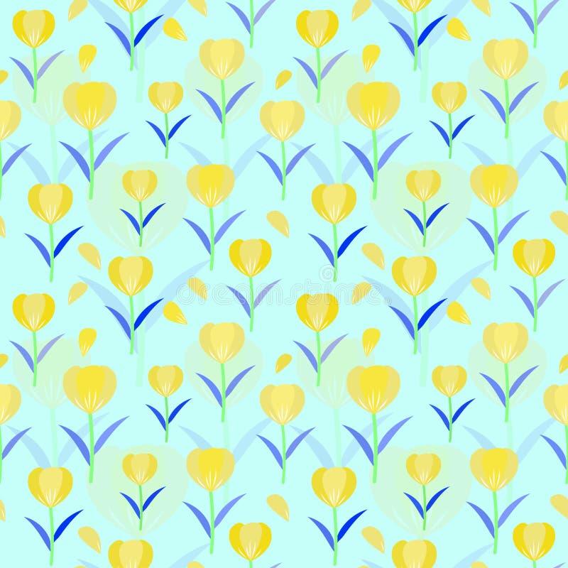 郁金香无缝的样式背景;被设计的花卉传染媒介 库存图片