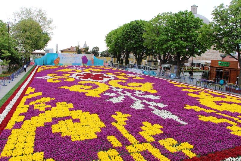 郁金香最大的地毯世界在Sultanahmet,伊斯坦布尔 免版税库存图片
