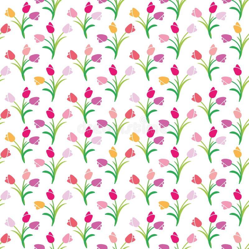 郁金香的传染媒介无缝的颜色样式 库存例证