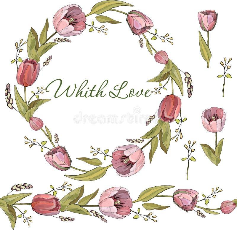 郁金香花无缝的刷子和花圈在传染媒介的在白色背景 皇族释放例证