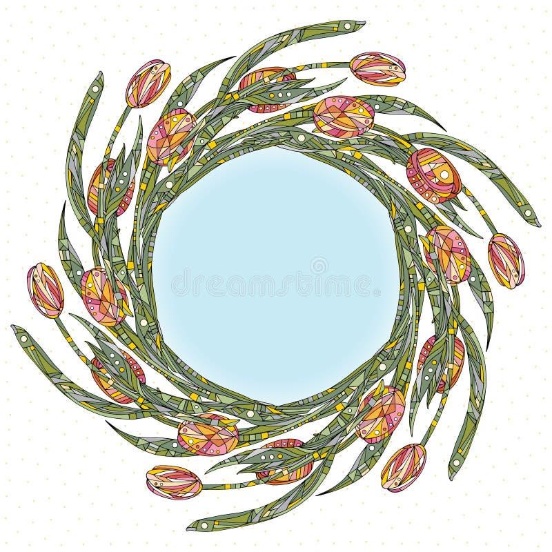 郁金香花框架传染媒介例证 手拉的自然背景 边界装饰花卉 向量例证