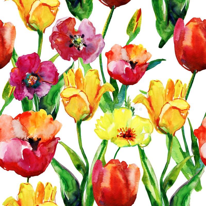 郁金香花的水彩例证 向量例证