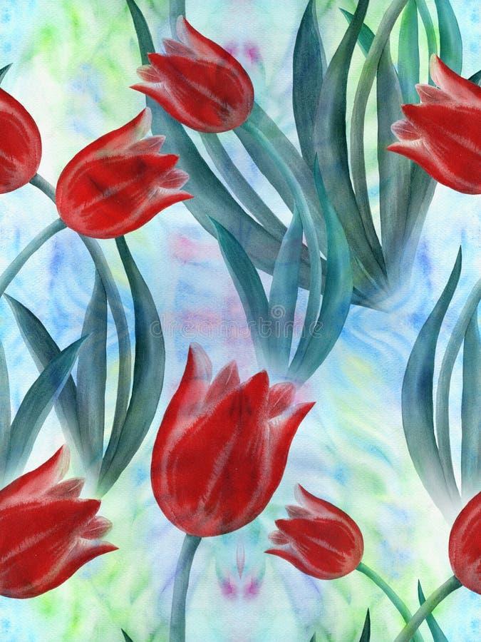 郁金香 花,在水彩背景的叶子拼贴画  在水彩背景的装饰构成 无缝的模式 皇族释放例证
