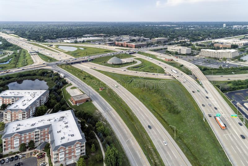 郊区天桥和高速公路 库存图片