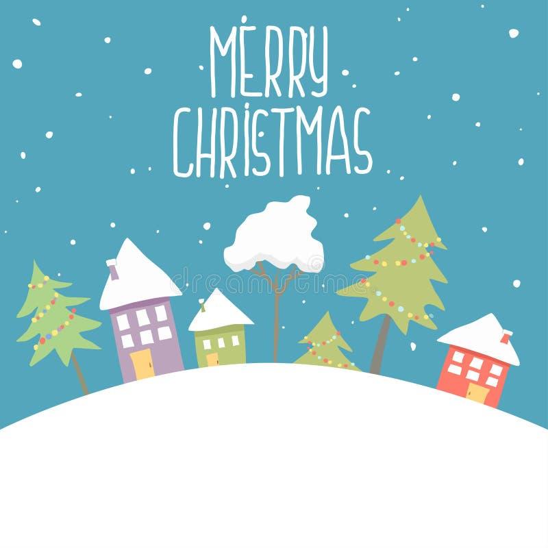 郊区房子被盖的雪 修造在假日装饰品 圣诞节风景树云杉,篱芭 新年好 库存例证