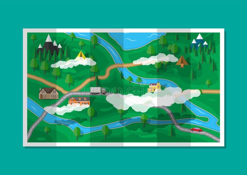 郊区纸自然地图 gps图标定位集合向量 皇族释放例证
