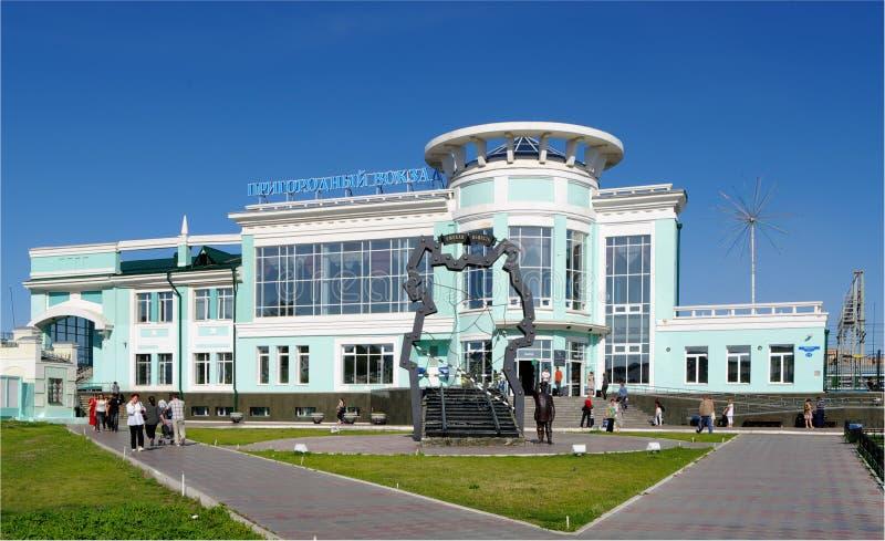 郊区鄂木斯克铁路俄国的岗位 免版税库存图片