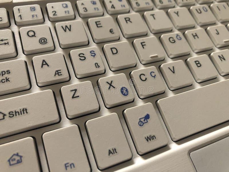 部份白色键盘 免版税库存照片