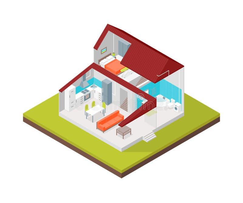 部分概念3d等轴测图的家 向量 向量例证