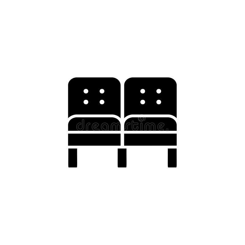 部分沙发的黑&白色传染媒介例证 平的象o 皇族释放例证