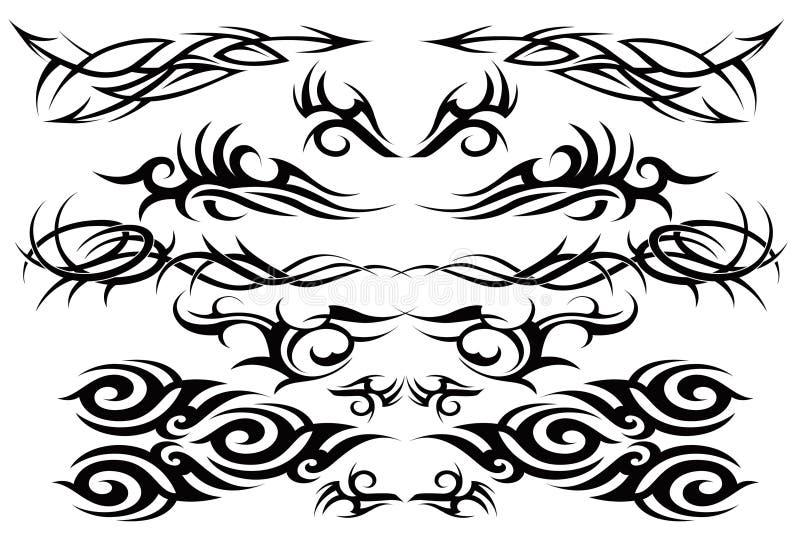 部族一集合的纹身花刺 库存例证