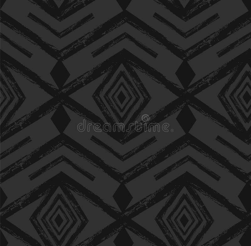 黑部族与乱画元素的那瓦伙族人传染媒介无缝的样式 阿兹台克抽象几何艺术印刷品 种族行家 向量例证