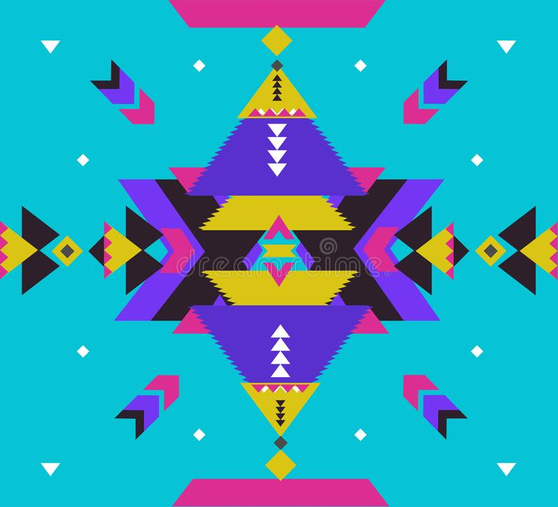 部族传染媒介装饰品 无缝非洲的模式 有V形臂章和三角的种族地毯 阿兹台克样式 几何 向量例证