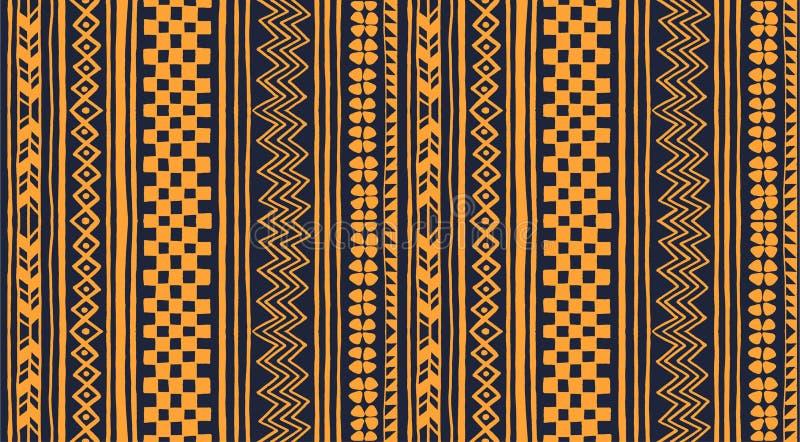 部族传染媒介装饰品 无缝非洲的模式 有V形臂章和小条的种族地毯 皇族释放例证