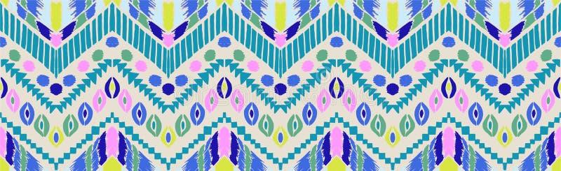 部族传染媒介装饰品 无缝非洲的模式 有V形臂章的种族地毯 阿兹台克样式 向量例证