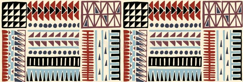 部族传染媒介装饰品 无缝非洲的模式 有V形臂章的种族地毯 阿兹台克样式 皇族释放例证