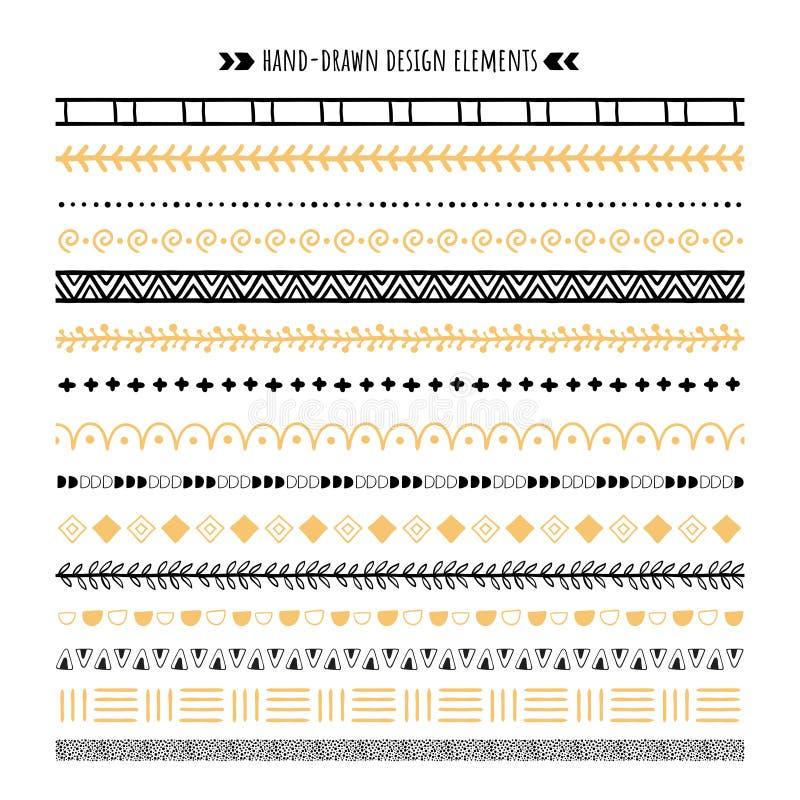 部族刷子 手拉的种族装饰品、阿兹台克样式和行家装饰品边界掠过传染媒介集合 向量例证