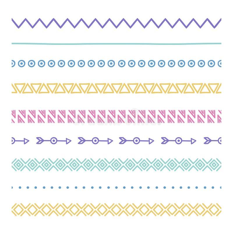 部族刷子 边界 种族手拉的传染媒介边界线集合 设计要素例证图象向量 当地刷子 几何的阿兹台克人 皇族释放例证