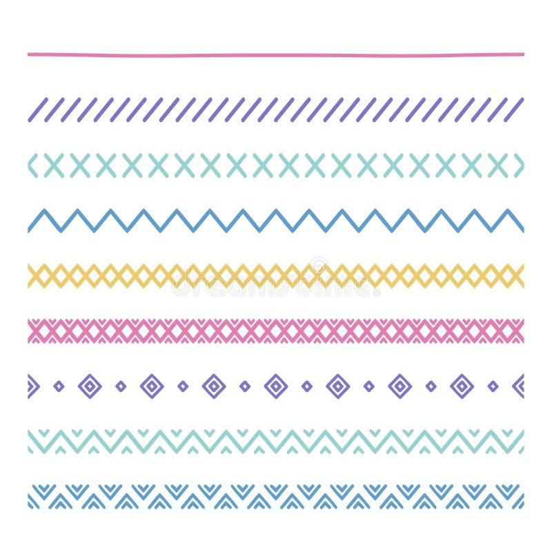部族刷子 边界 种族手拉的传染媒介边界线集合 设计要素例证图象向量 当地刷子 几何的阿兹台克人 库存例证