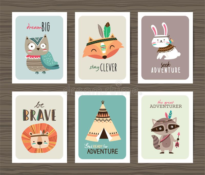 部族动物卡片 向量例证