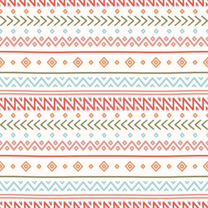 部族手拉的线几何墨西哥种族无缝的样式 边界 饮料例证纸张减速火箭主题向量包裹 剪贴薄 乱画 葡萄酒 皇族释放例证