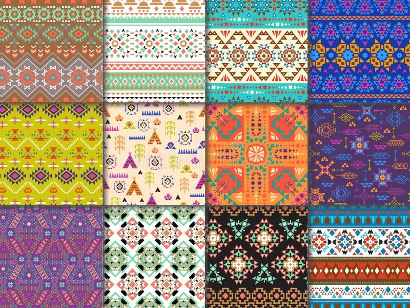 部族无缝的与抽象装饰品和几何印刷品纺织品的样式传染媒介种族纹理装饰的 库存例证