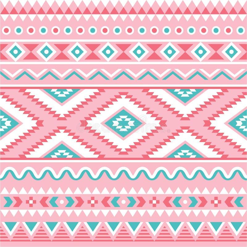 部族无缝的样式,阿兹台克桃红色和绿色背景 向量例证